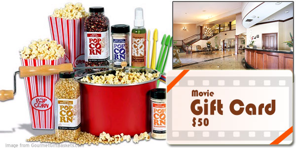 heritage hotel group monthly giveaway: gourmet popcorn gift basket, movie theater gift card and 2-night stay at the stockton ca hotel