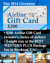 Image of $200 Airline Gift Card w/ 2-night Stay at Stockton CA Hotel