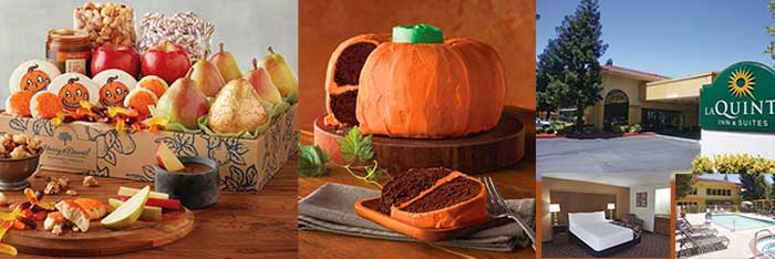 monthly giveaway price heritage hotel group oct. 2017 pumpkin cake and halloween gift basket and two night stay at hayward ca hotel