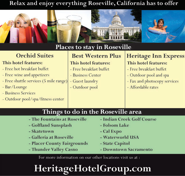 Three great hotels in Roseville: Orchid Suites, Best Western Plus Roseville, and Heritage Inn Express Roseville