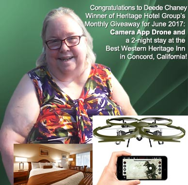 winner of heritage hotel group monthly giveaway contest for camera app drone