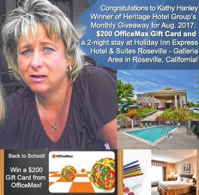 kathy hanley - winner of heritage hotel group monthly giveaway gift card and two night roseville ca hotel